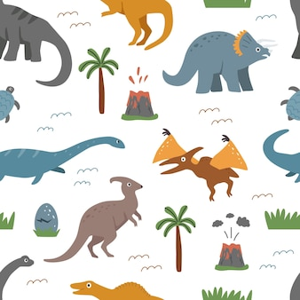 Padrão sem emenda com dinossauros e elementos decorativos em um fundo branco.