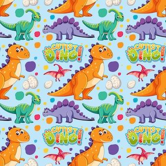 Padrão sem emenda com dinossauros fofos e fonte em fundo azul
