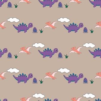 Padrão sem emenda com dinossauros fofos para têxteis de bebê, papel de embrulho e embalagem