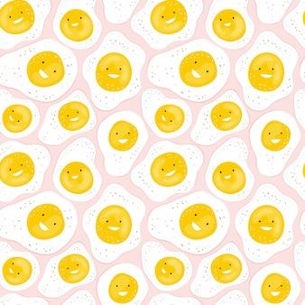Padrão sem emenda com diversão ovos fritos, sorrindo em um fundo rosa. ovo engraçado de personagem de desenho animado. mão desenhado fundo com comida para uma criança saudável café da manhã. design de impressão, têxtil, tecido
