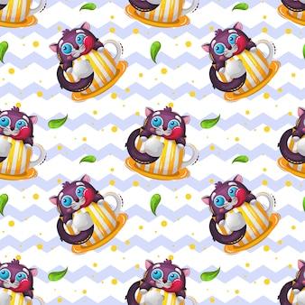 Padrão sem emenda com doce gato animal engraçado