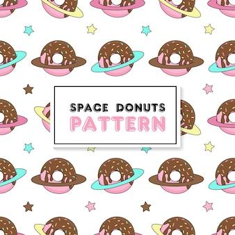 Padrão sem emenda com donuts de espaço.