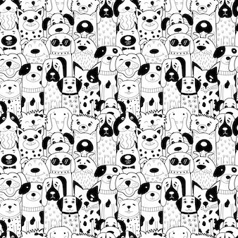 Padrão sem emenda com doodle cães preto e branco.