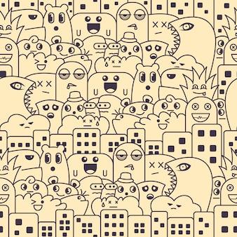 Padrão sem emenda com doodle de monstro fofo