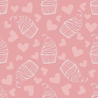Padrão sem emenda com doodle doces, sobremesas, queque de sorvete no fundo rosa