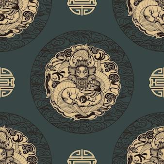 Padrão sem emenda com dragões em estilo chinês