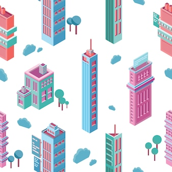 Padrão sem emenda com edifícios isométricos da cidade e arranha-céus