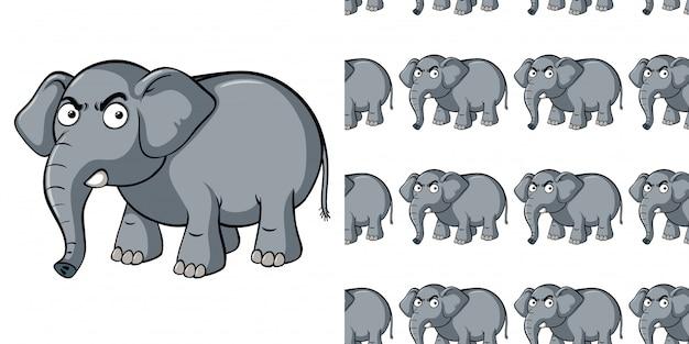 Padrão sem emenda com elefante cinza