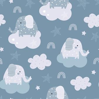 Padrão sem emenda com elefante e nuvem no céu.