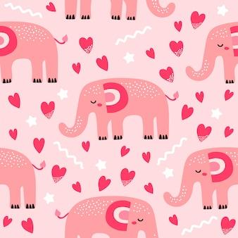 Padrão sem emenda com elefante fofo