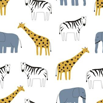Padrão sem emenda com elefante, girafa e animais zebra em um fundo branco.
