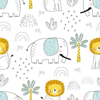 Padrão sem emenda com elefantes fofos e elementos decorativos em um fundo branco.