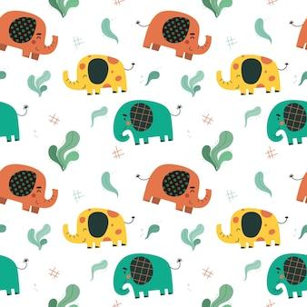 Padrão sem emenda com elefantes fofos