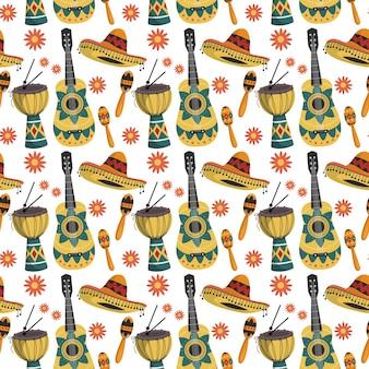 Padrão sem emenda com elementos da cultura mexicana. instrumentos musicais mexicanos.
