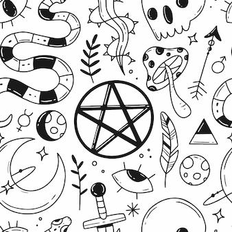 Padrão sem emenda com elementos de doodle de magia preto e branco sobre o tema da magia do esoterismo