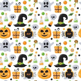 Padrão sem emenda com elementos de halloween