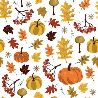 Padrão sem emenda com elementos de outono.