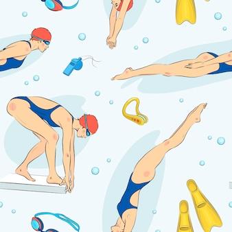Padrão sem emenda com elementos de piscina desenhados à mão