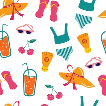 Padrão sem emenda com elementos de praia de verão. viagem divertido padrão sem emenda com ícones de verão em vetor. óculos de sol, protetores solares, chapéu, coquetel, chinelo, cereja. conceito de recreação de verão e turismo