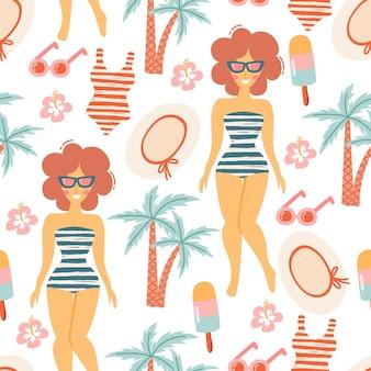 Padrão sem emenda com elementos de verão: chapéu de palha, bolsa de praia, chinelos, óculos de sol, bola, sorvete, meninas na praia e folhas de palmeira