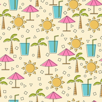 Padrão sem emenda com elementos de verão em estilo de linha fina. ícones de linha de vetor - conceito de desenho animado engraçado de viagens e férias