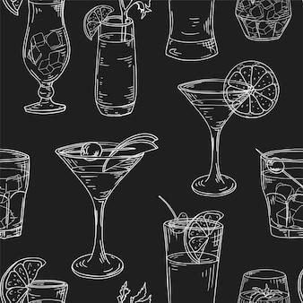 Padrão sem emenda com elementos desenhados à mão. coquetéis em fundo branco. ilustração vetorial.