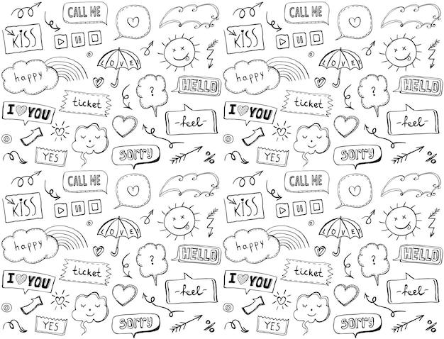 Padrão sem emenda com elementos e bolhas de discurso estilo doodle ilustração vetorial tema de amor