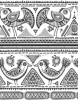Padrão sem emenda com elementos étnicos desenhados à mão em preto e branco