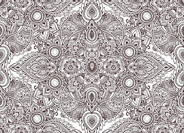 Padrão sem emenda com elementos florais de henna mehndi de mão desenhada. lindo fundo infinito em estilo oriental indiano