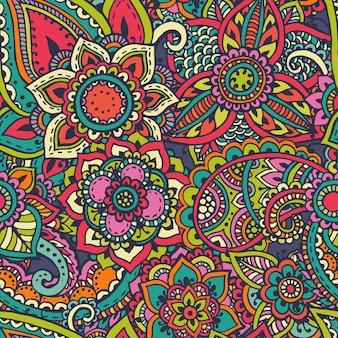 Padrão sem emenda com elementos florais de henna mehndi de mão desenhada.