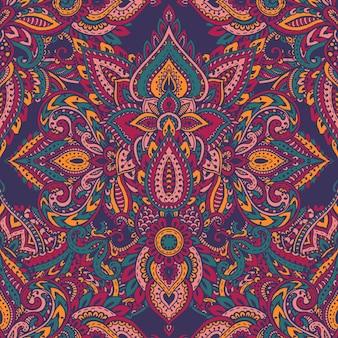 Padrão sem emenda com elementos florais de henna mehndi mão desenhada. lindo fundo infinito