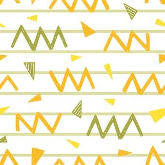 Padrão sem emenda com elementos geométricos zig zags, pontos, linhas e triângulos