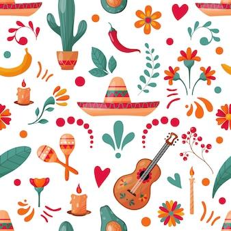 Padrão sem emenda com elementos mexicanos e decoração floral
