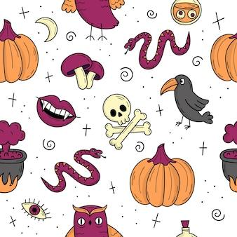 Padrão sem emenda com elementos para o halloween. objetos assustadores místicos. gatos, abóboras, fantasmas, poções. ilustração do estilo doodle