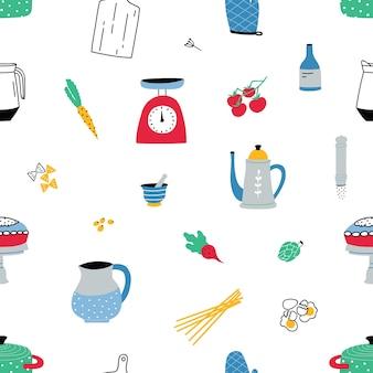 Padrão sem emenda com equipamentos e utensílios de cozinha coloridos desenhados à mão em branco