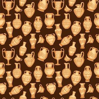 Padrão sem emenda com esboço de vasos antigos
