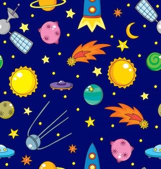 Padrão sem emenda com espaço, planetas, cometa e estrelas.