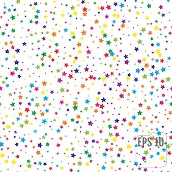 Padrão sem emenda com estrelas coloridas. celebração de confetes de estrelas de cor. padrão estrelado. decoração do festival. ilustração vetorial