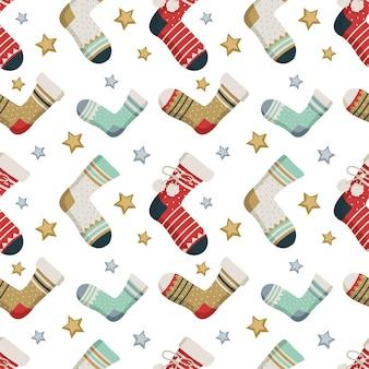 Padrão sem emenda com estrelas de meias e fundo moderno de impressão de inverno de itens de vestuário gif ...