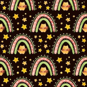 Padrão sem emenda com estrelas do arco-íris de natal e um gato fofo com um lenço de inverno.