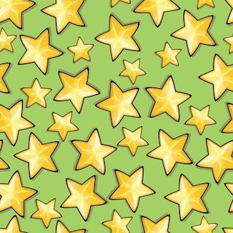 Padrão sem emenda com estrelas dos desenhos animados. fundo do vetor