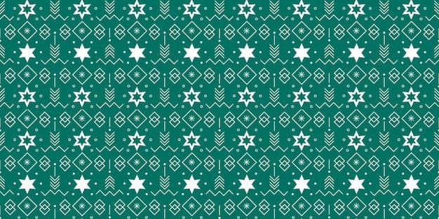 Padrão sem emenda com estrelas e elementos geométricos em fundo verde para designs de tema de natal