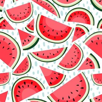 Padrão sem emenda com fatias de melancia em branco