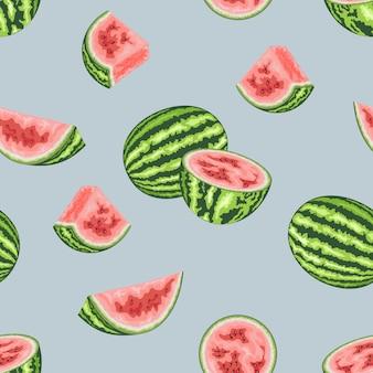 Padrão sem emenda com fatias de melancia.