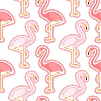 Padrão sem emenda com figura de flamingo rosa flamingo com vetor de fundo de tendência de contorno