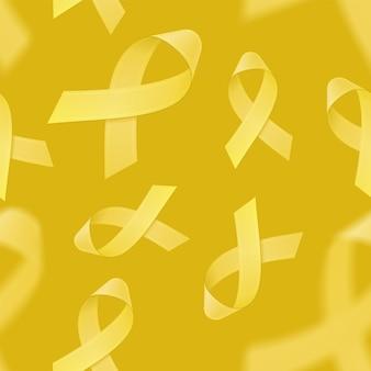 Padrão sem emenda com fitas amarelas realistas sobre fundo amarelo. símbolo de conscientização do câncer infantil em setembro.