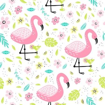 Padrão sem emenda com flamingo e elementos desenhados à mão