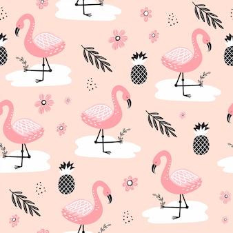 Padrão sem emenda com flamingo e elementos desenhados à mão.