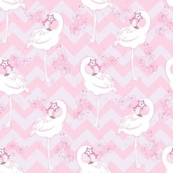 Padrão sem emenda com flamingo rosa dos desenhos animados