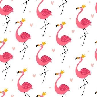 Padrão sem emenda com flamingos fofos